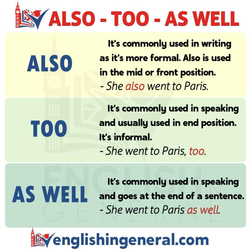 How To Use Also-Too And As Well In The Right Form? - English in